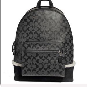 NWT Coach Men's West Signature Shearling Backpack